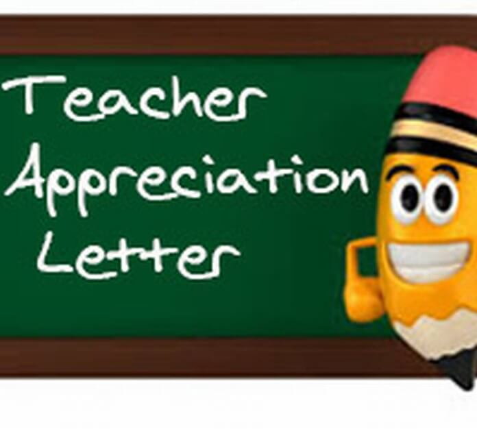 Teacher Appreciation Letter format