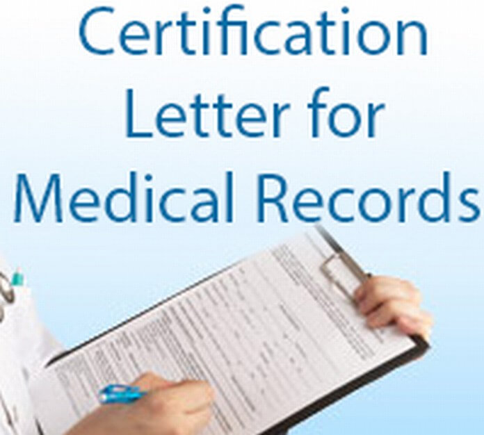 Certification Letter for Medical Record