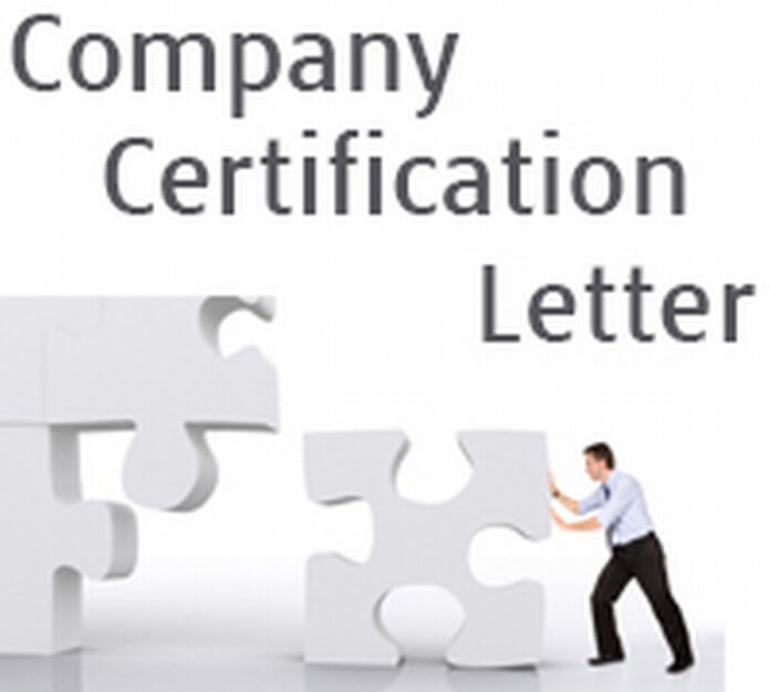 Company Certification Letter