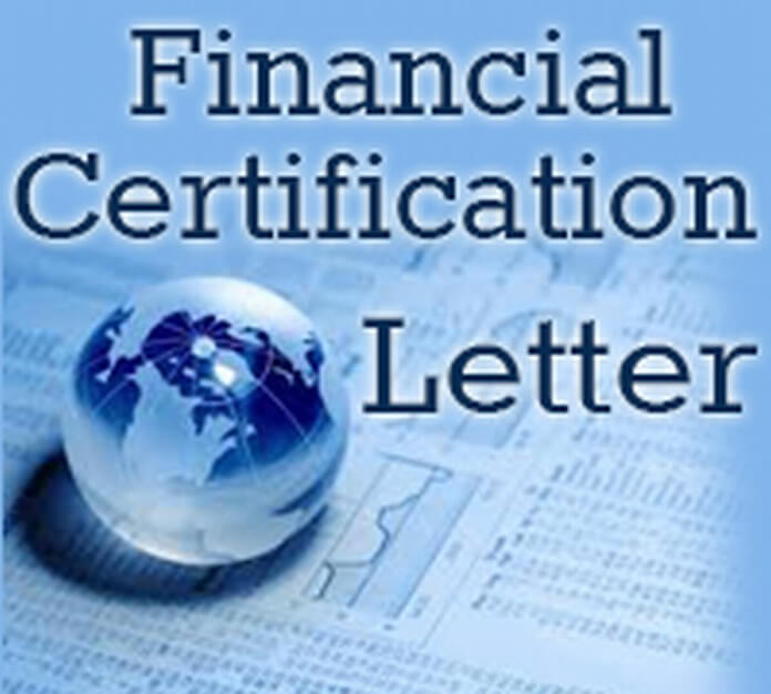 Financial Certification Letter