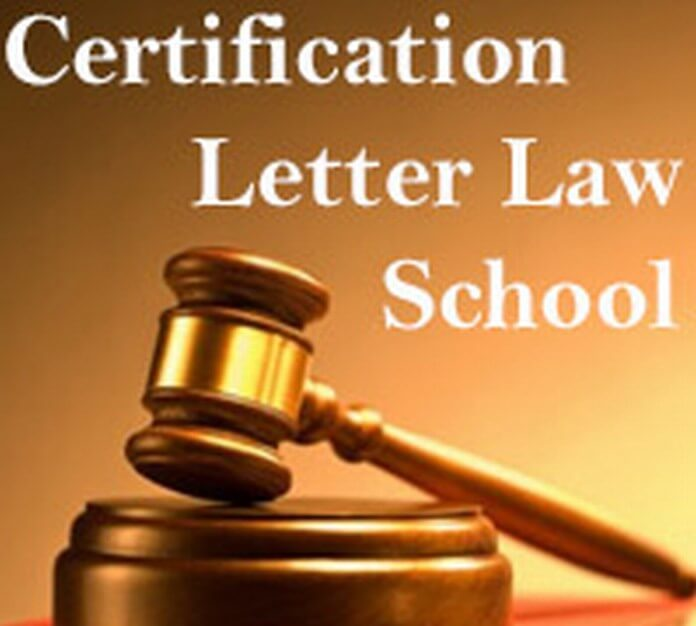 Certification Letter for Law School