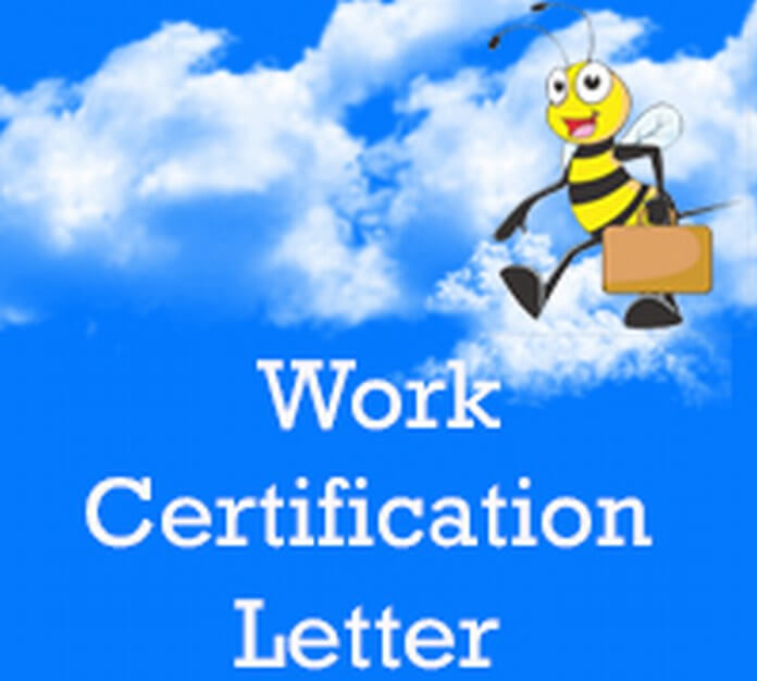 Work Certification Letter sample