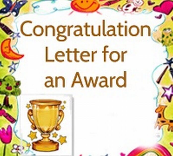 Congratulation Letter for Award