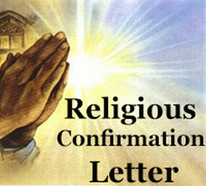 religious-confirmation-letter Sample For Application Letter on high school, college scholarship, teaching position, any position, for school board, for housekeeping,