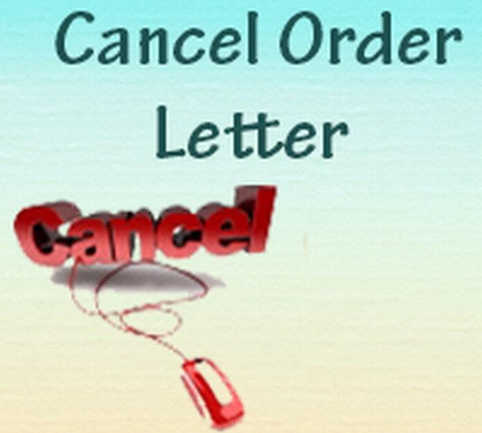 Cancel Order Letter