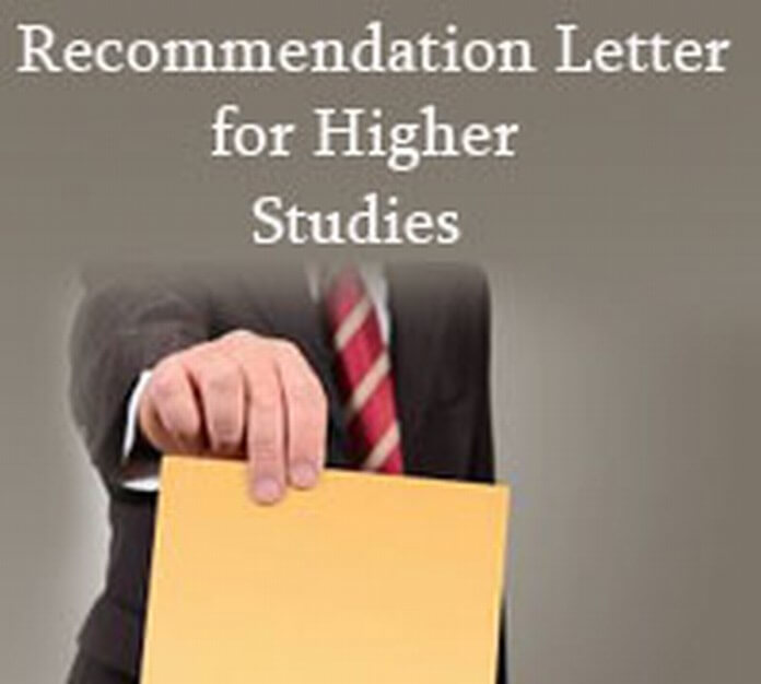 Recommendation Letter for Higher Studies