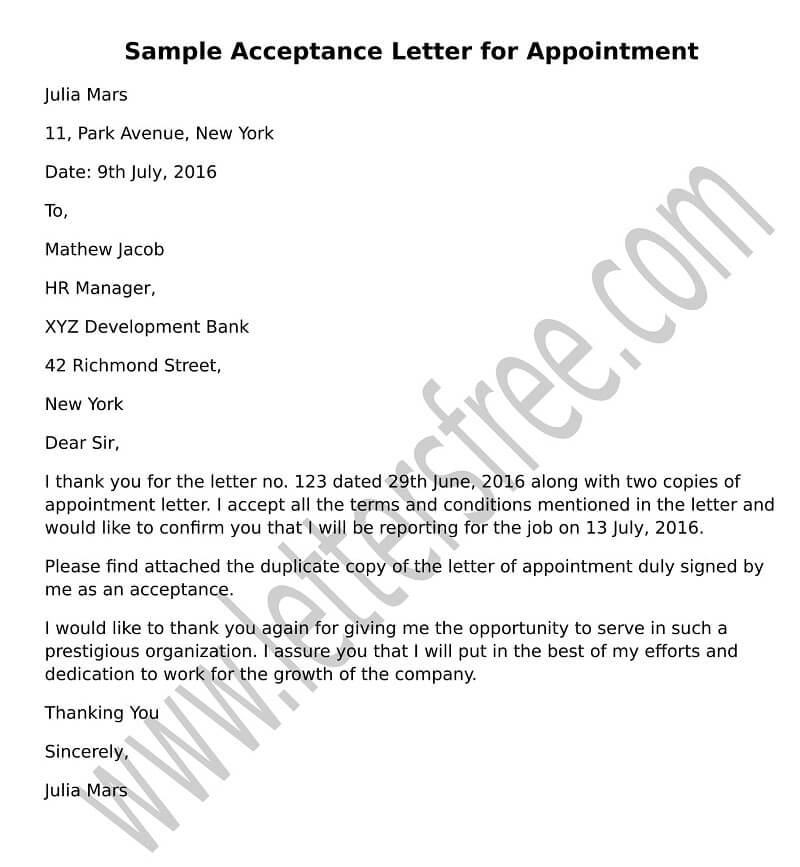 appointment acceptance letter sample