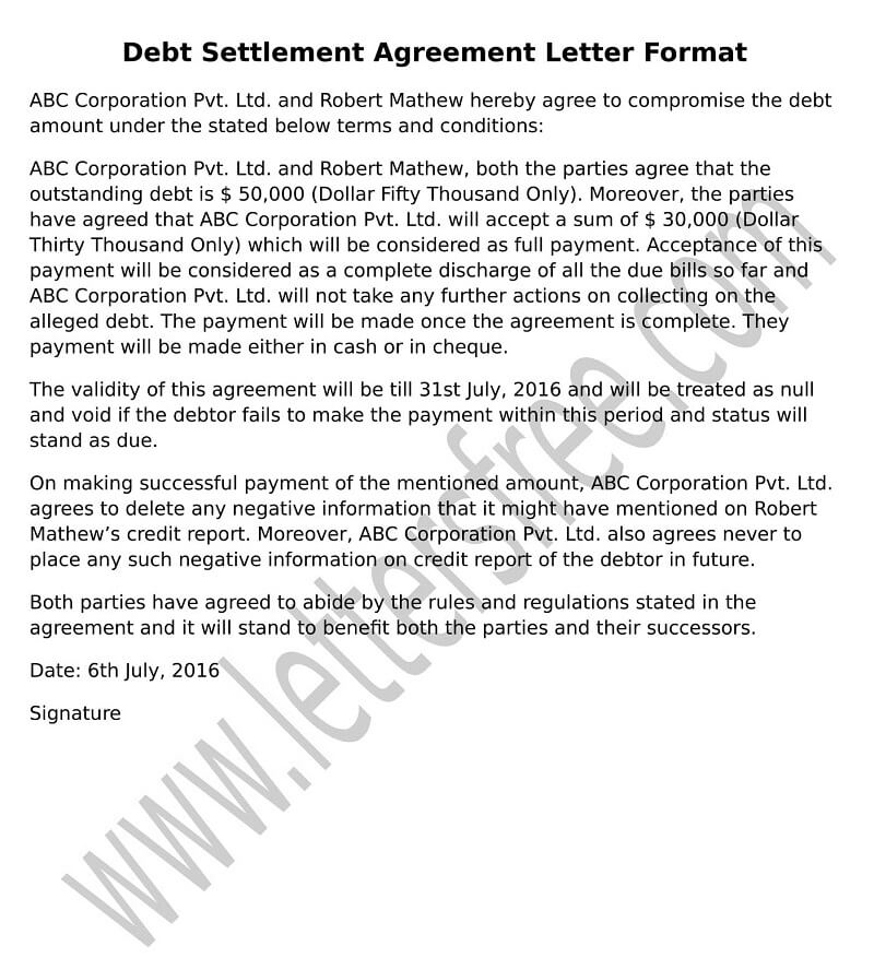 Sample Debt Settlement Agreement Letter format Example