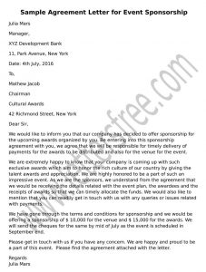 Sample Agreement Letter for Event Sponsorship Format