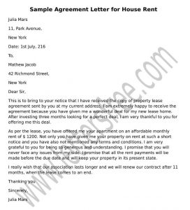 Agreement Letter House Rent, Sample Format Rental Agreement