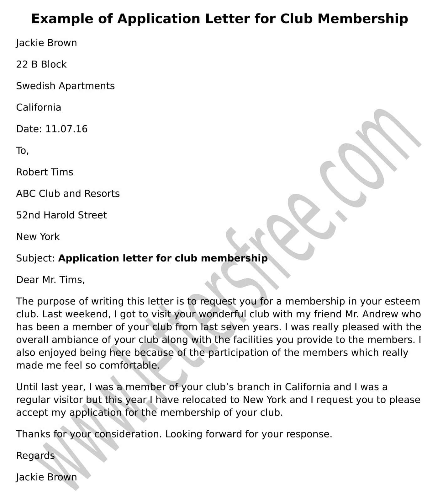 Sample Club Membership Application Letter example format
