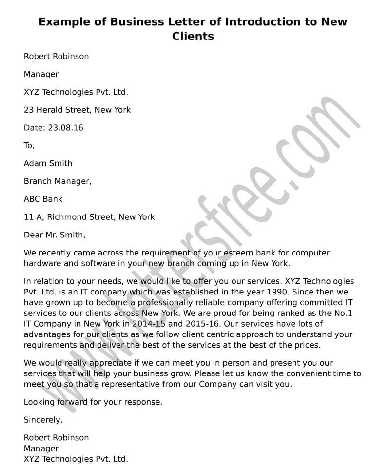 Sample Example Business Introduction Letter to New Clients