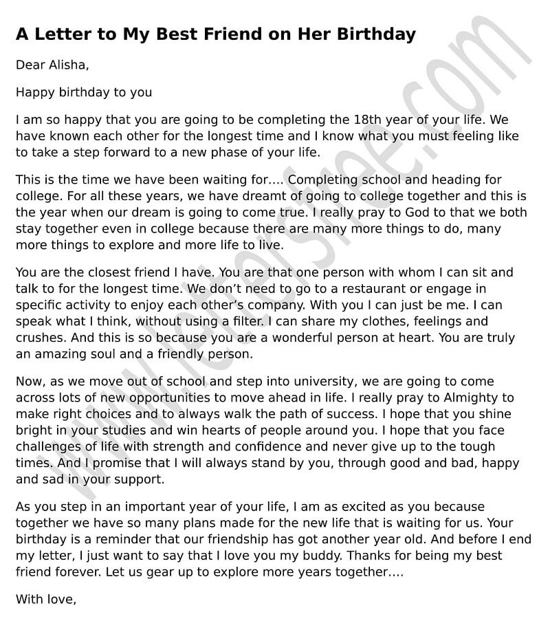 A Letter to My Best Friend on Her Birthday - Free Letters