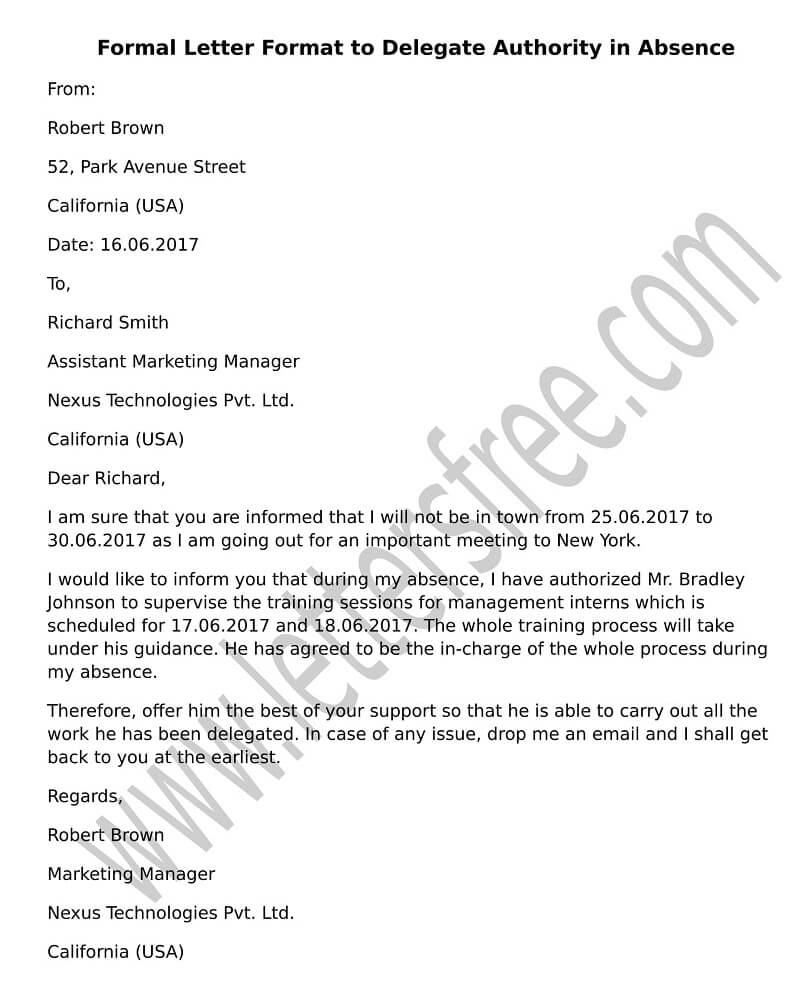 Permission letter for child to travel sample letter format to delegate authority in absence altavistaventures Images