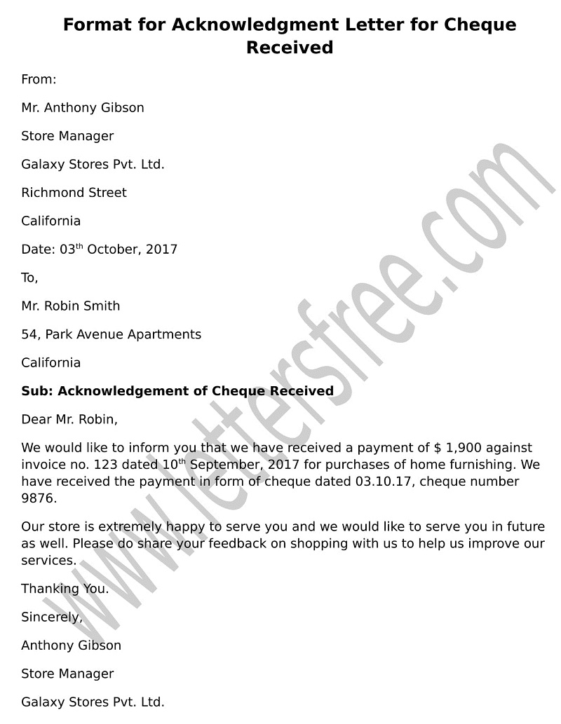 Acknowledgment Letter for Cheque Received, Letter Format sample