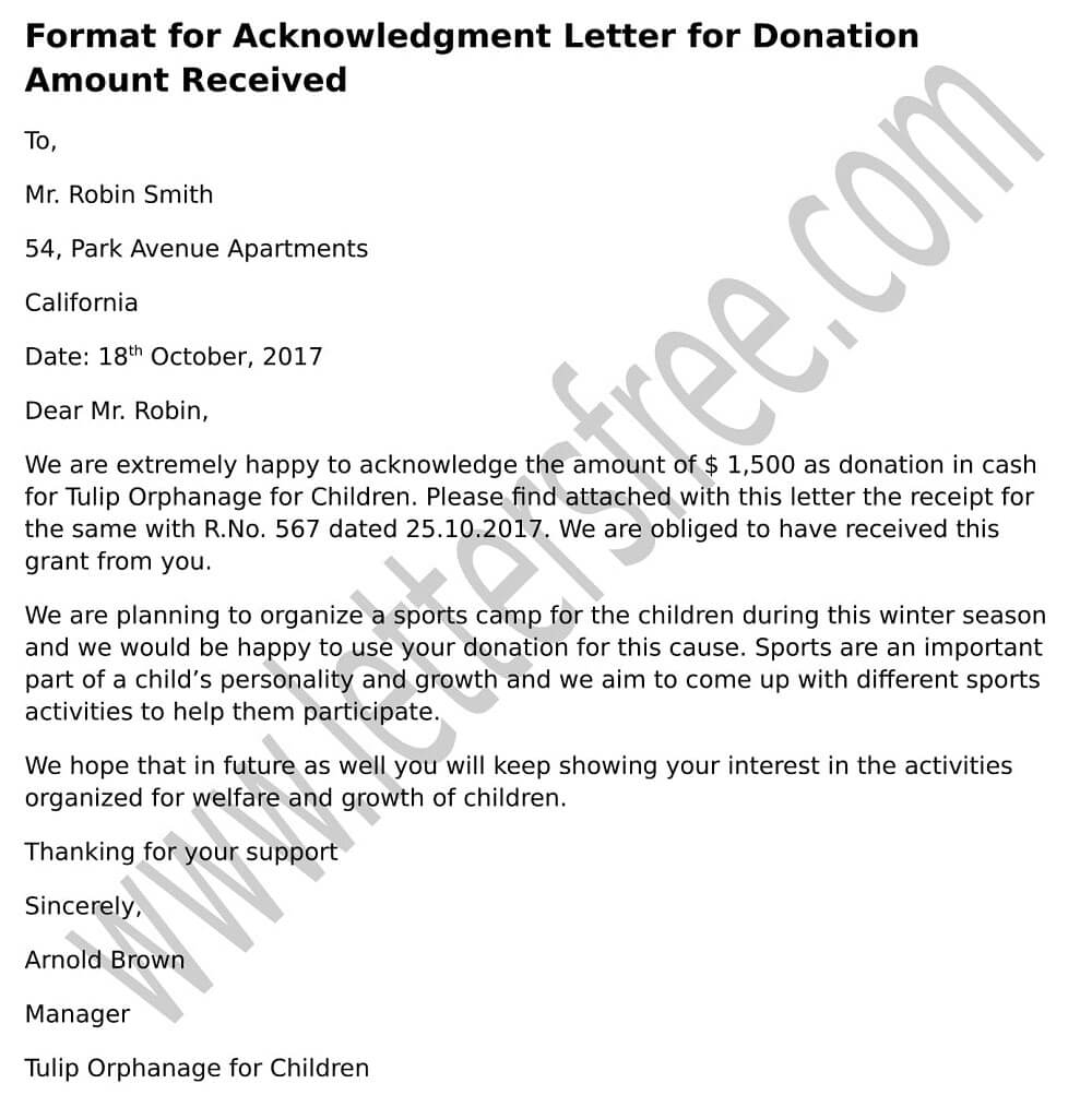 Acknowledgment Letter for Receiving Donation Amount, Sample format