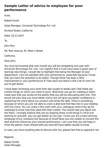 Formal Advice Letter to Employee for Poor Performance