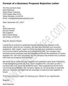 Sample Proposal Business Rejection Letter, Vendor rejection letter format