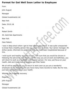 Format Get Well Soon Letter to Employee, formal Get Well letter