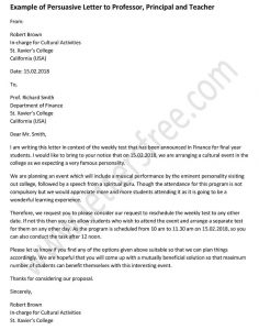 Example Persuasive Letter to Professor, Principal and Teacher, Persuasive Letter