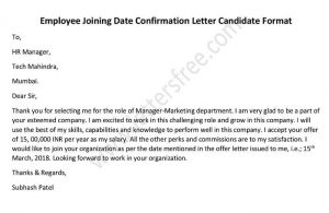 Employee Joining Date Confirmation Letter Candidate Format, Acceptance Letter