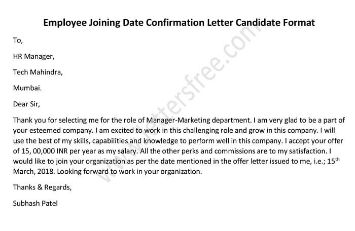 Employee Joining Date Confirmation Letter Candidate Format  Free