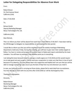 Delegation Responsibilities Letter Absence from Work - Sample Delegation Letter