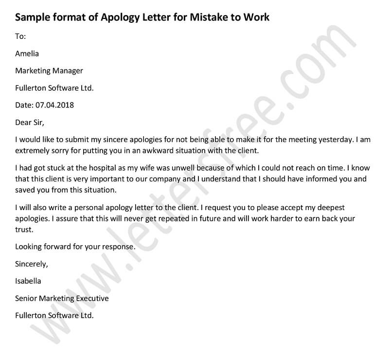 Apology Letter for Mistake at Work - Tips to Write Apology Letter ...