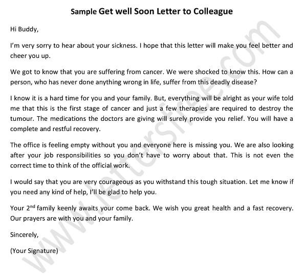 get well soon letter to Boss, Colleague or Coworker - sample get well soon letter