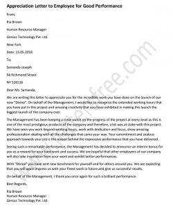 Appreciation Letter to Employee for Good Performance, job well done Appreciation Letter