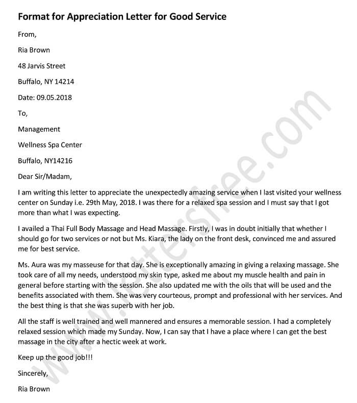 Appreciation Letter for Good Service, Sample, Example Appreciation Letter