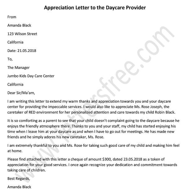 Appreciation Letter to the Daycare Provider – Sample daycare thank you letter, Example and Tips