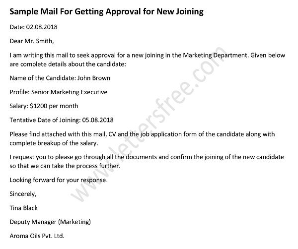 mail to get approval for new joining, job offer acceptance letter
