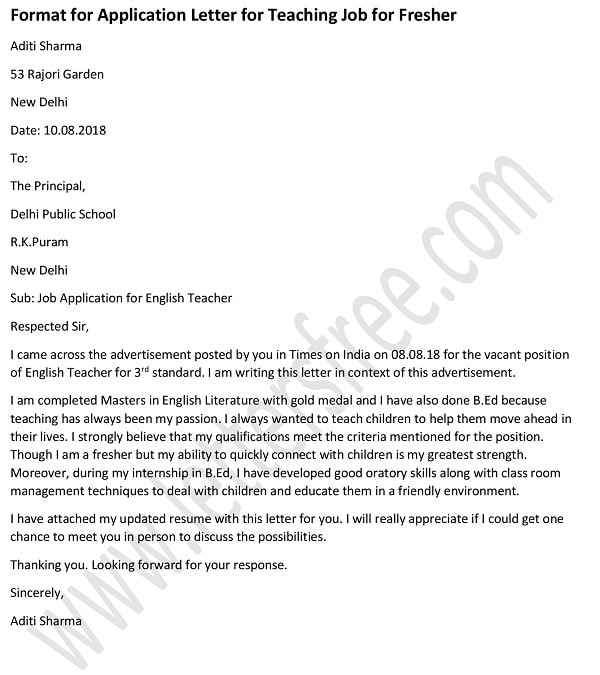 Application Letter for Fresher Teacher Job, Teacher Cover Letter Template Example