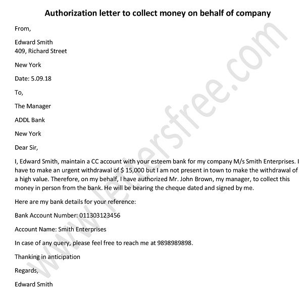 Sample Authorization Letter - Authorization Letter to Collect Money on Behalf of Company