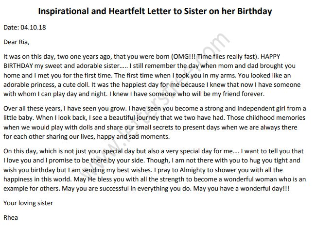 birthday letter to sister - Sample letter to sister on her birthday