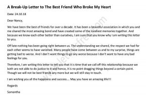 Friendship Break Up Sample Letter - Break Up Letter to Best friends