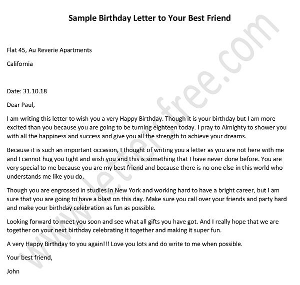 birthday letter to best friend - sample birthday letter friend, Letter tips