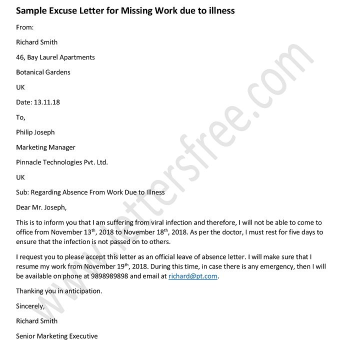 formal absence excuse letters for missing work excuse letter example