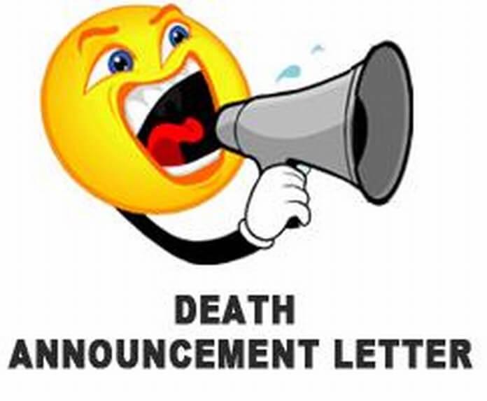 Death Announcement Letters