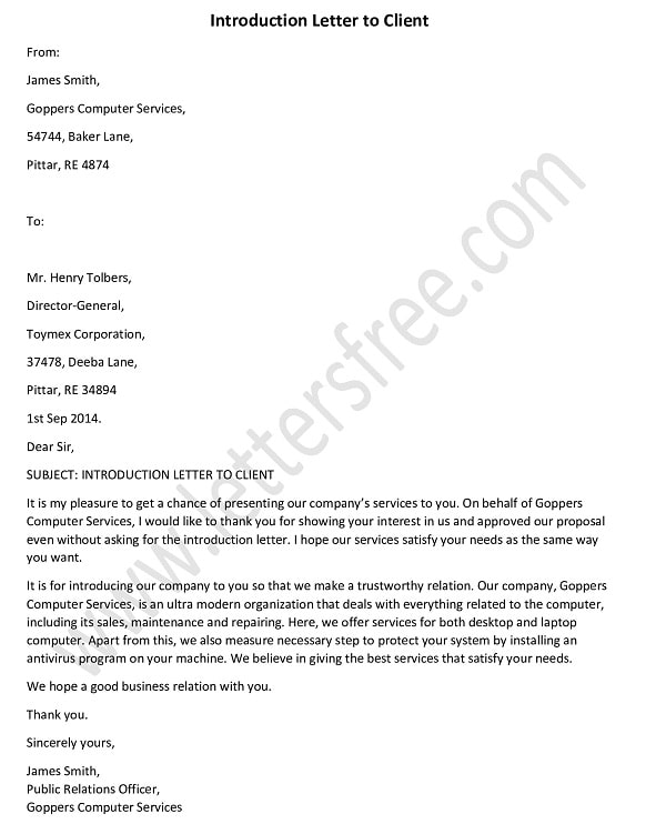 Introduction Letter to Client, introduction letter format