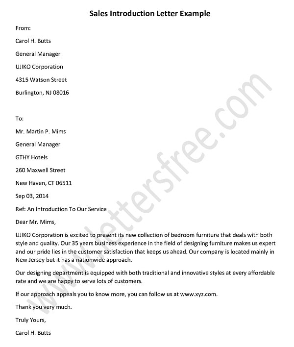 sales introduction letter template