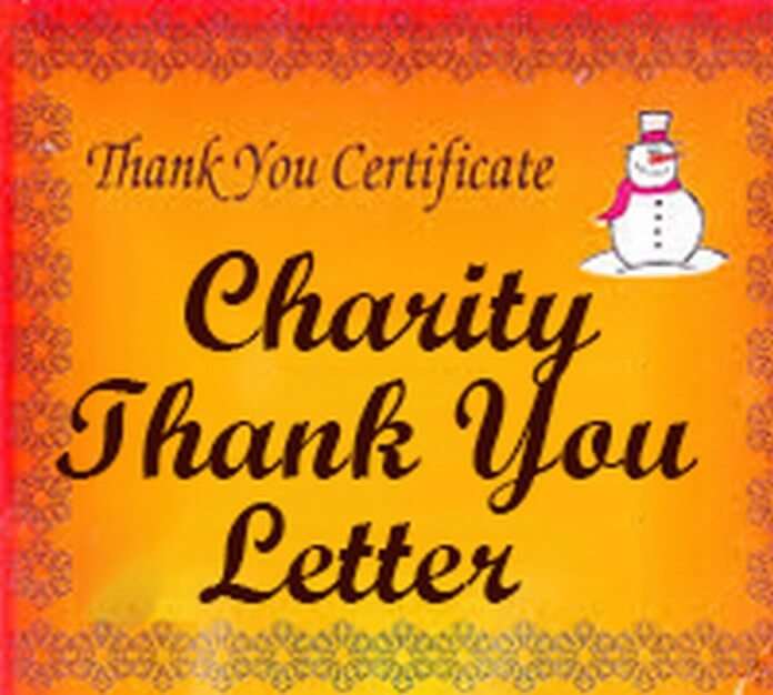 Charity Thank You Letter