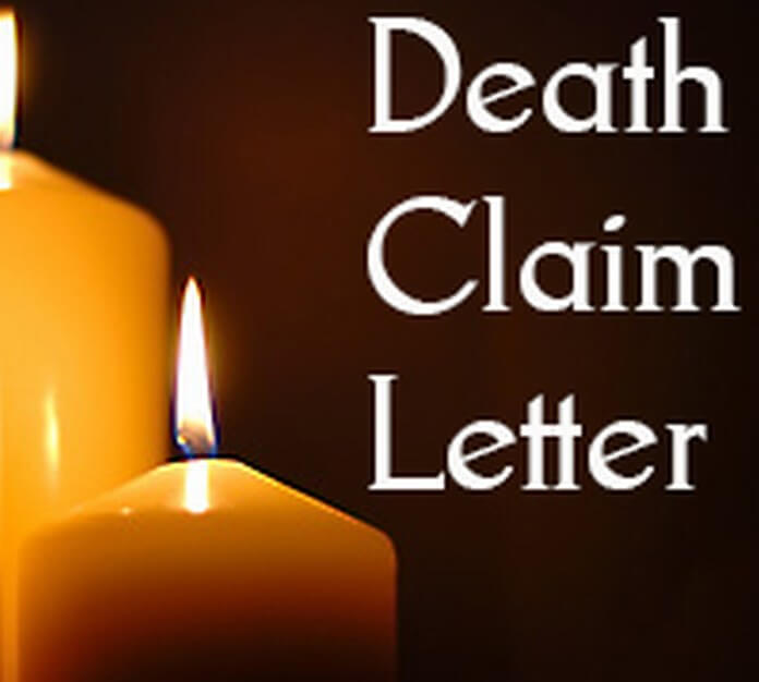 Death Claim Letter Example
