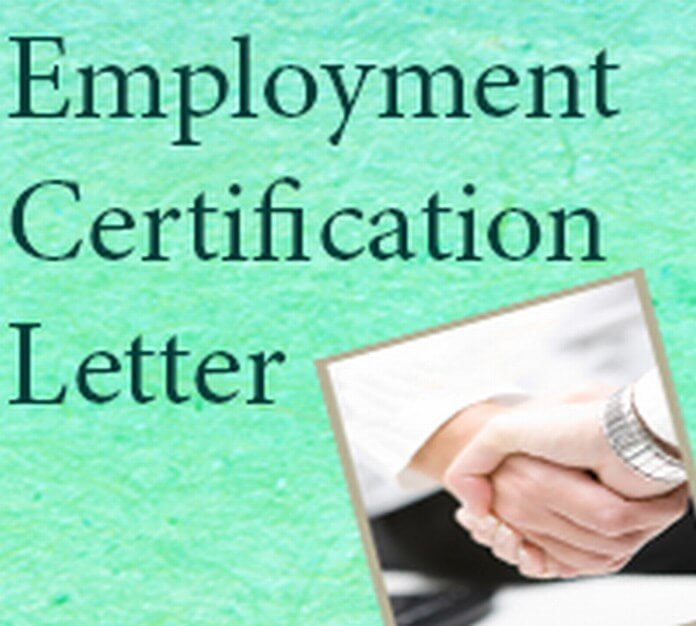 Employment Certification Letter example