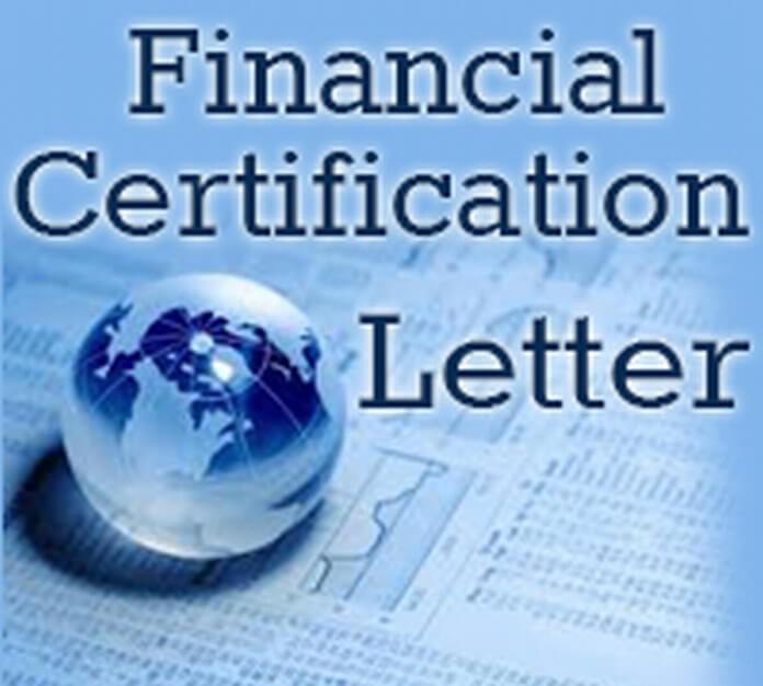Financial Certification Letter