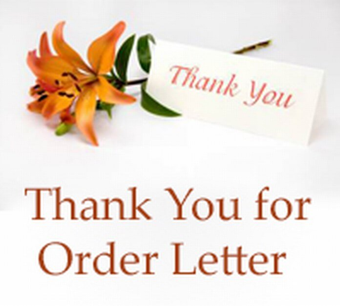 Thank You for Order Letter