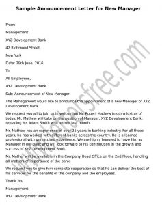 sample Announcement Letter for New Manager format
