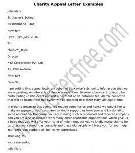 formal Sample charity appeal letter format