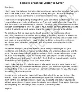 Sample Break up Letter to Lover, Break Up Girlfriend Boyfriend Letter